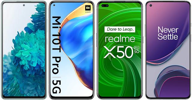Samsung Galaxy S20 FE 4G vs Xiaomi Mi 10T Pro vs Realme X50 Pro vs OnePlus 8T