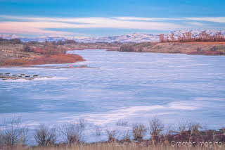 Cramer Imaging's fine art landscape photograph of iced over Seagull Bay on the American Falls Reservoir, Idaho in winter