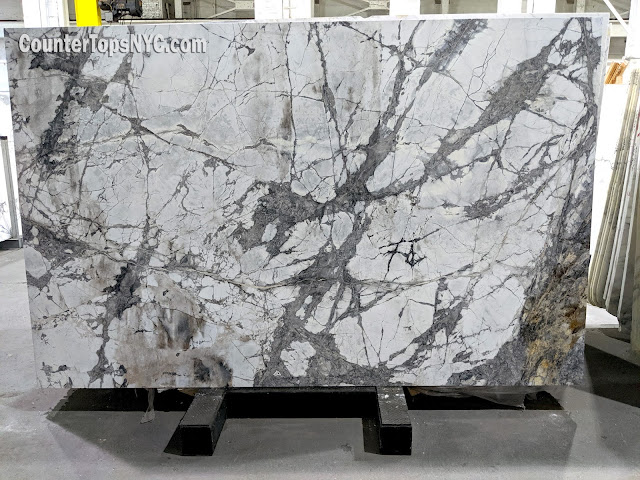 Invisible White Marble Slabs NYC