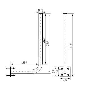 Soporte antena fijación a pared y mástil 30x60