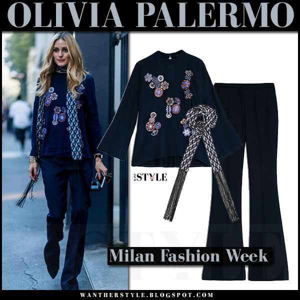 Olivia Palermo in navy embroidered blouse, navy pants and fringe scarf max and co what she wore milan fashion week