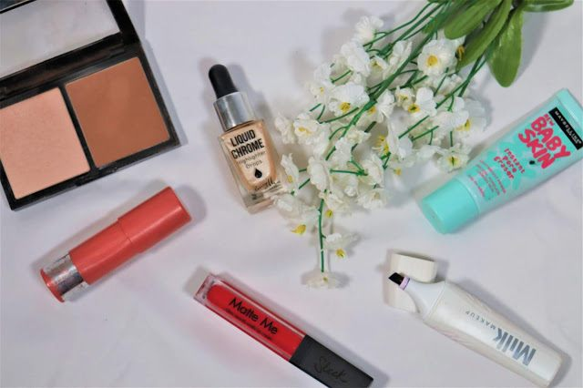 Makeup flatlay with Laura's dissapointing products