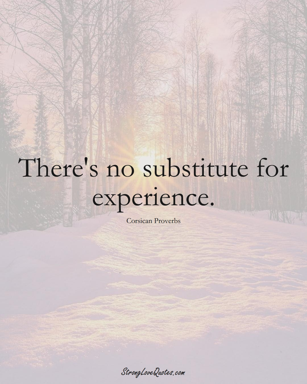 There's no substitute for experience. (Corsican Sayings);  #EuropeanSayings