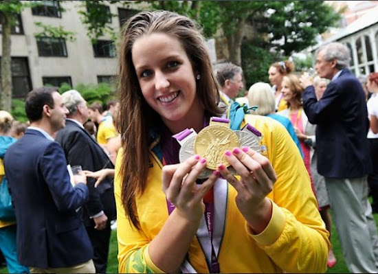 Brittany Elmslie with Medals in London Olympic 2012