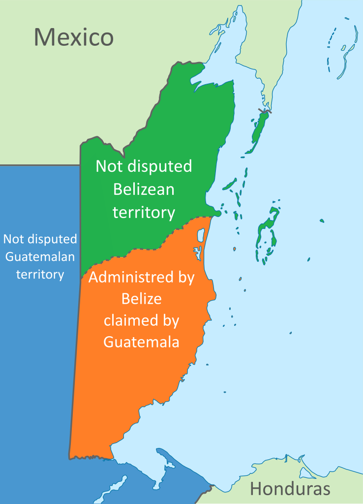 Guatemala-Belize territorial dispute: Approximate map of what parts of Belize are claimed by Guatemala.