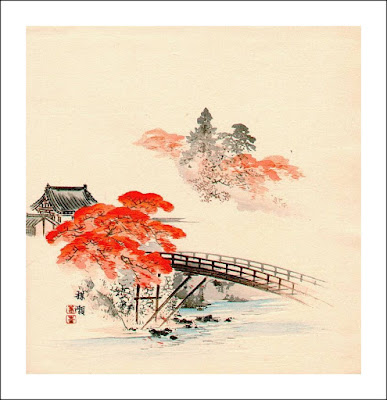 """Red maple and bridge"", Kōno Bairei (1844-1895)"