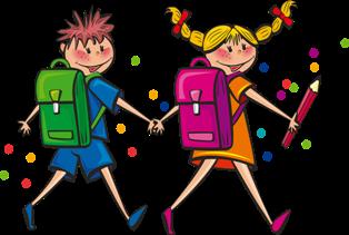 disegni di bambini che vanno a scuola