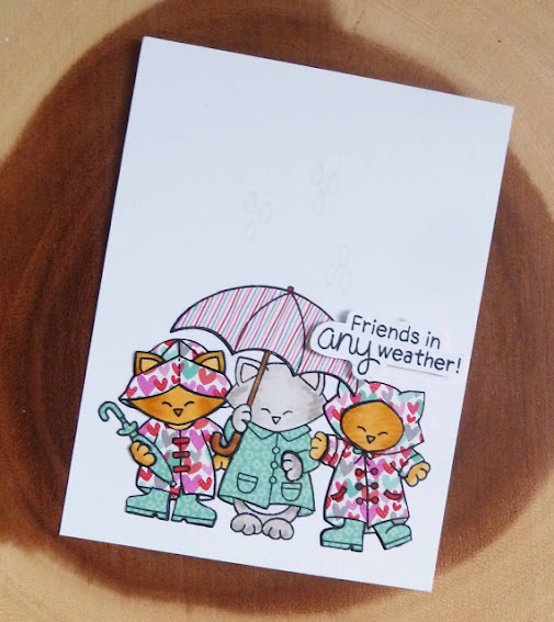 Friends in any weather by Joyce features Newton's Rainy Day Trio by Newton's Nook Designs; #newtonsnook, #inkypaws, #friendshipcard, #cardmaking