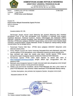 Surat Edaran PPDB Online Untuk Madrasah Tahun 2020