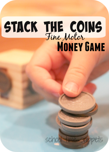 stack the coins fine motor money game