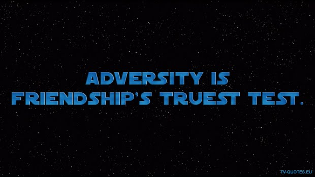 Adversity is friendship's truest test.