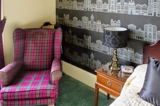 Tartan armchair at a hotel in Edinburgh Scotland