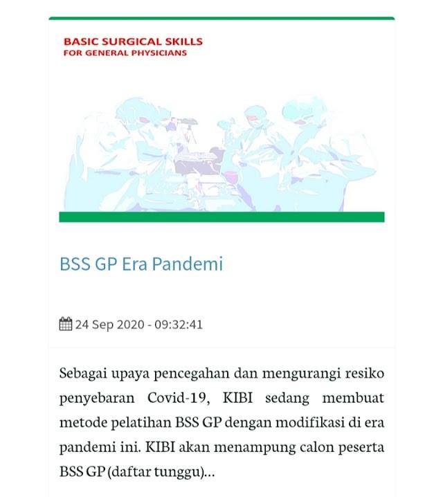 Pelatihan BSS (Basic Surgical Skills) Tahun 2021 untuk Dokter Umum