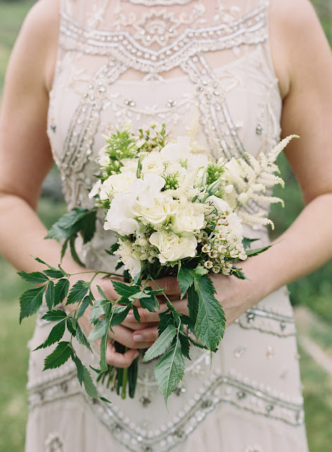 Bridal details and home made bouquet for Jonna and Heather's Inn at West Settlement Wedding by Karen Hill Photography