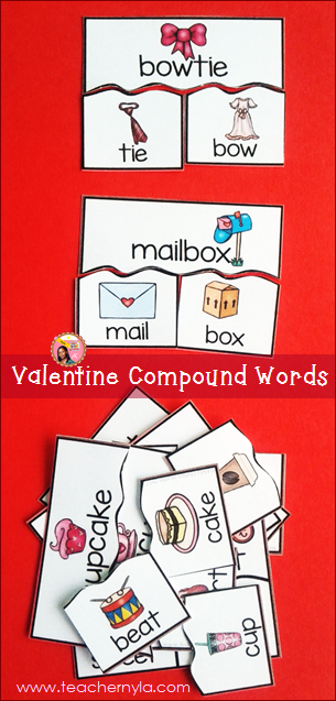 Valentine's Day Compound Word activity