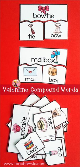 Valentine's Day Compound Word activity