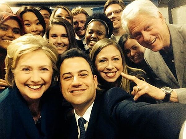 Another stellar selfie: Jimmy Kimmel and Clinton family