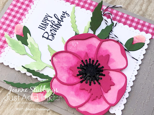 Jo's Stamping Spot - Just Add Ink Challenge #517 Happy Birthday card using Poppy Moments Dies by Stampin' Up!