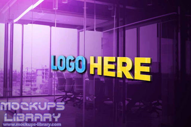 3d glass logo mockup free download 2