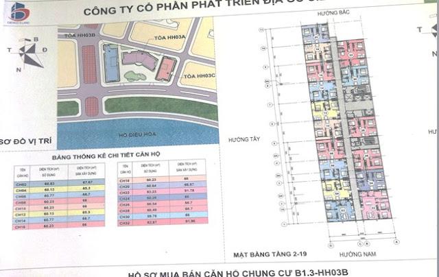 Sơ đồ mặt bằng căn hộ chung cư B1.3 HH03B Thanh Hà Cienco 5