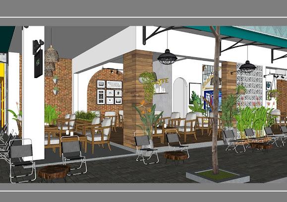 View nội thất quán cà phê vỉa hè phong cách Sài Gòn