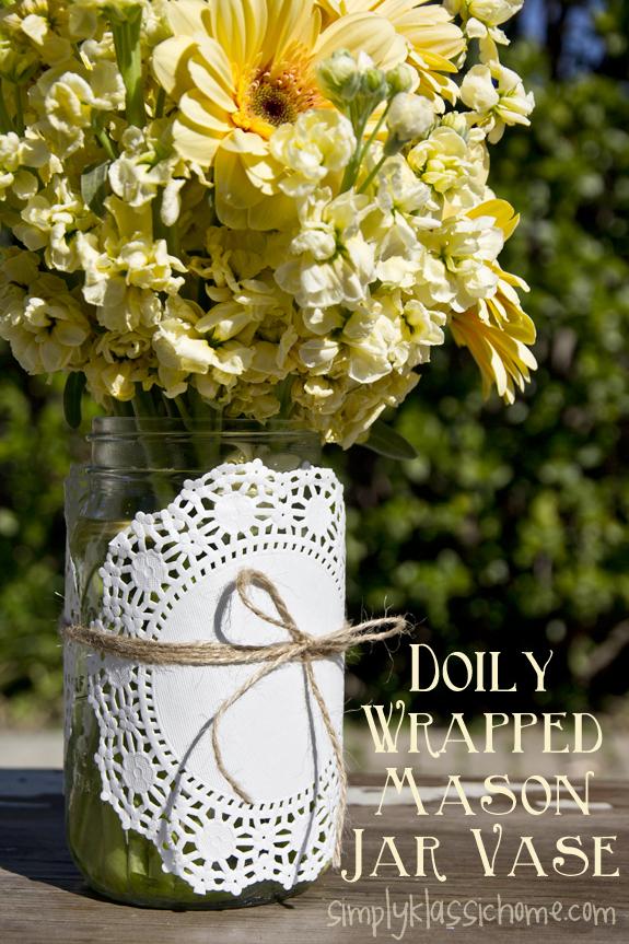Doily Wrapped Mason Jar Spring Vase