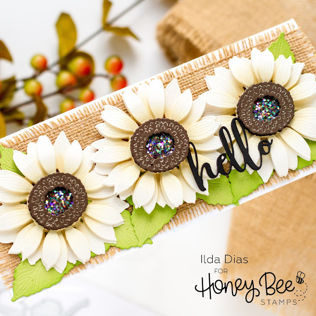 White Sunflowers,Hello Card,Slimline,Honey Bee Stamps,Lovely Layers: Sunflowers Dies,Bitty Buzzwords Dies,Fall,Autumn Splendor,Card Making, Stamping, Die Cutting, handmade card, ilovedoingallthingscrafty, Stamps, how to,
