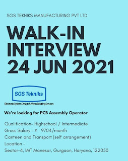 10th and 12th Pass Jobs Vacancy For PCB Assembly Operator Sgs Tekniks Manufacturing Pvt Ltd Manesar, Haryana