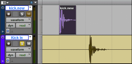 Two selected drum tracks in Pro Tools