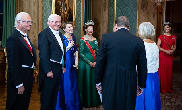 Queen Silvia and Crown Princess Victoria wearing the Nine-Prong Tiara and the Connaught Diamond Tiara