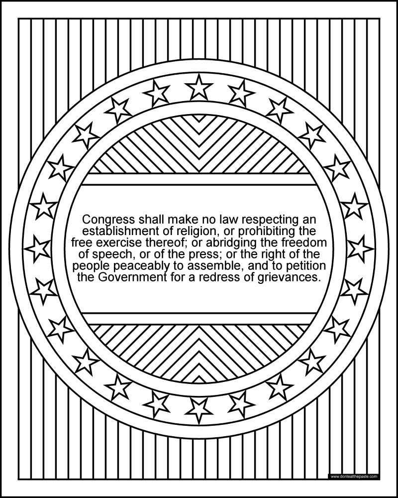 don u0027t eat the paste 1st amendment coloring page bill of rights