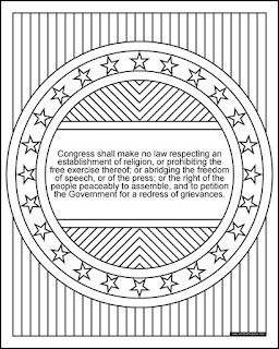 1st Amendment coloring page- available in jpg and transparent png #FirstAmendment #Coloring #1a #Patriotic