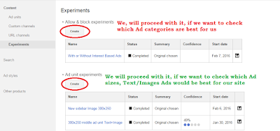 Two experiments in Adsense to check variation in earnings
