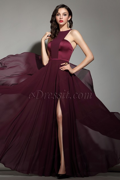 07dfb2defb eDressit Elegant Burgundy Halter Red Carpet Chiffon Dress