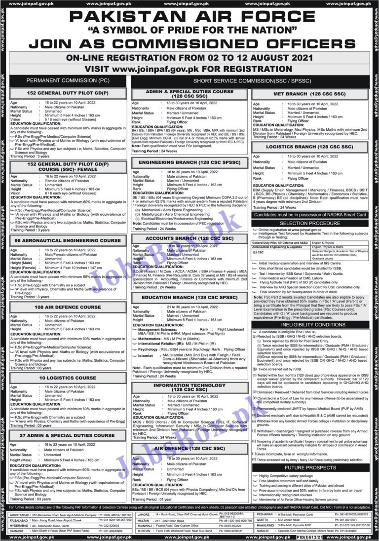Join Pakistan Air Force PAF Jobs 2021 in Pakistan - www.joinpaf.gov.pk Jobs 2021