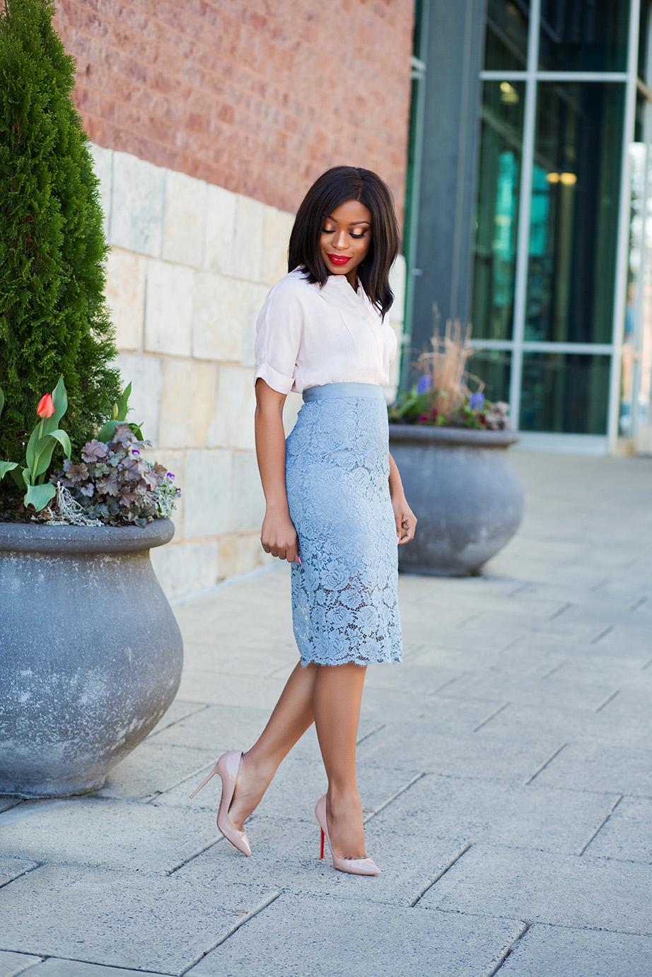 Pastel Colors Lace Midi Skirt Jadore Fashion