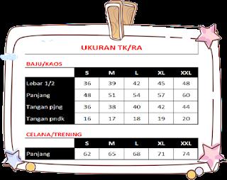Ukuran Seragam Sekolah Anak TK