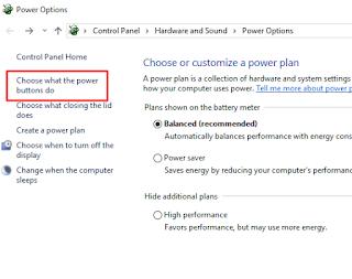 Pengaturan tombol power windows 10