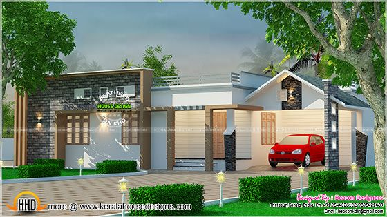 Modern Mix Roof Single Floor Home Kerala Home Design And