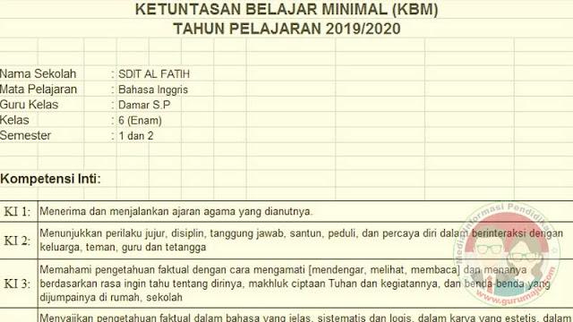 Download KKM Bahasa Inggris Kelas 6 K13 Semester 2