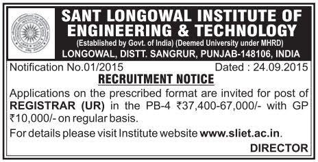 Applications are invited for Registrar Post in Sant Longowal Institute of Engineering and Technology (SLIET) Punjab
