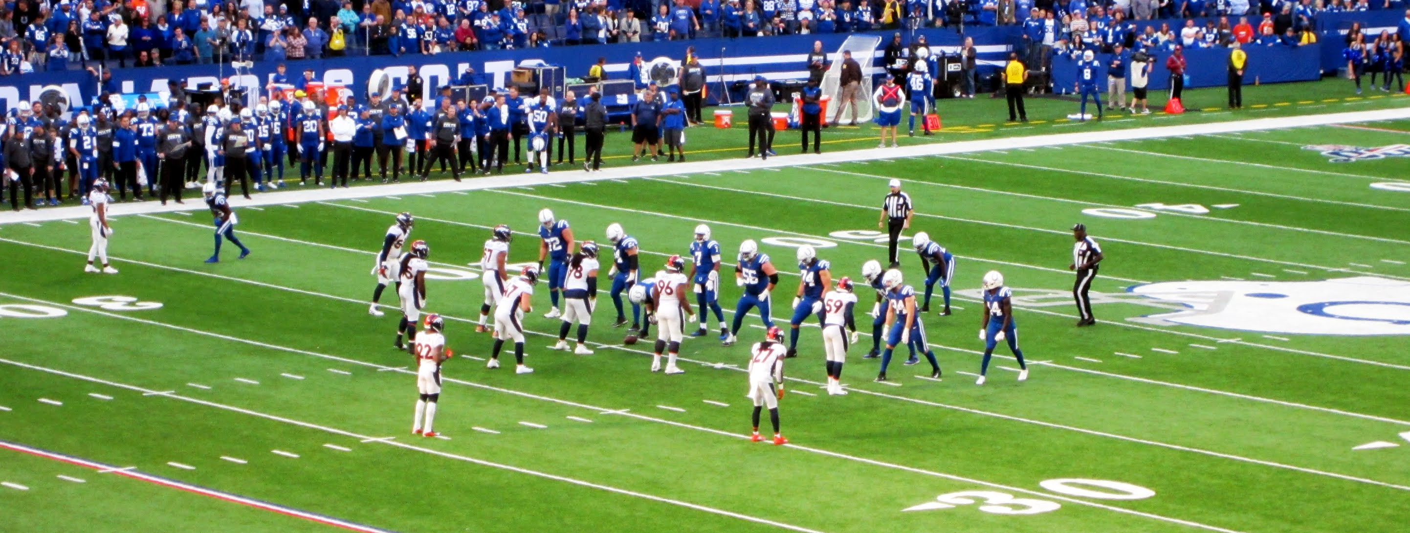Indianapolis Colts taking prepare to take an offensive snap against the Denver Broncos