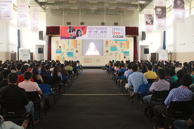 Students of GIM while watching a live stream of  INK Conference being held at Grand Hyatt Goa.
