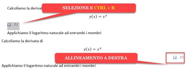 allineamento a destra della numerazione delle equazioni