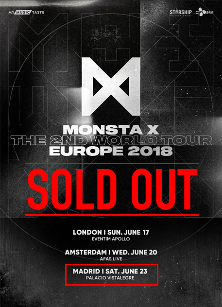 [TOUR SOLD OUT] MONSTA X 몬스타엑스 en MADRID el 23 de Junio