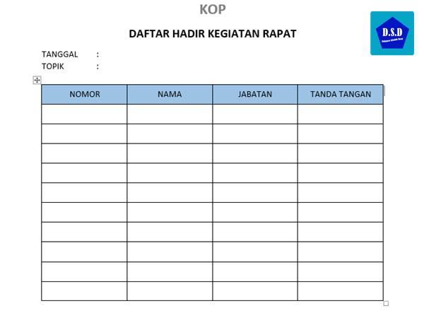 contoh daftar hadir kegiatan rapat (untuk sekolah dan umum)