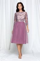 Rochie de Ocazie Dy Fashion Dyana lila din tulle cu broderie la bust