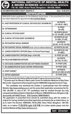 NIMHANS Recruitment 2016 39 Psychologist, Staff Nurse, Scientific Officer Jobs