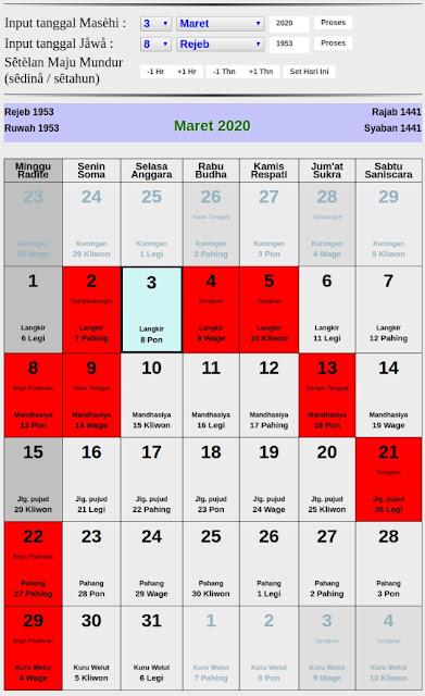 Kalender Jawa hari baik bulan maret 2020