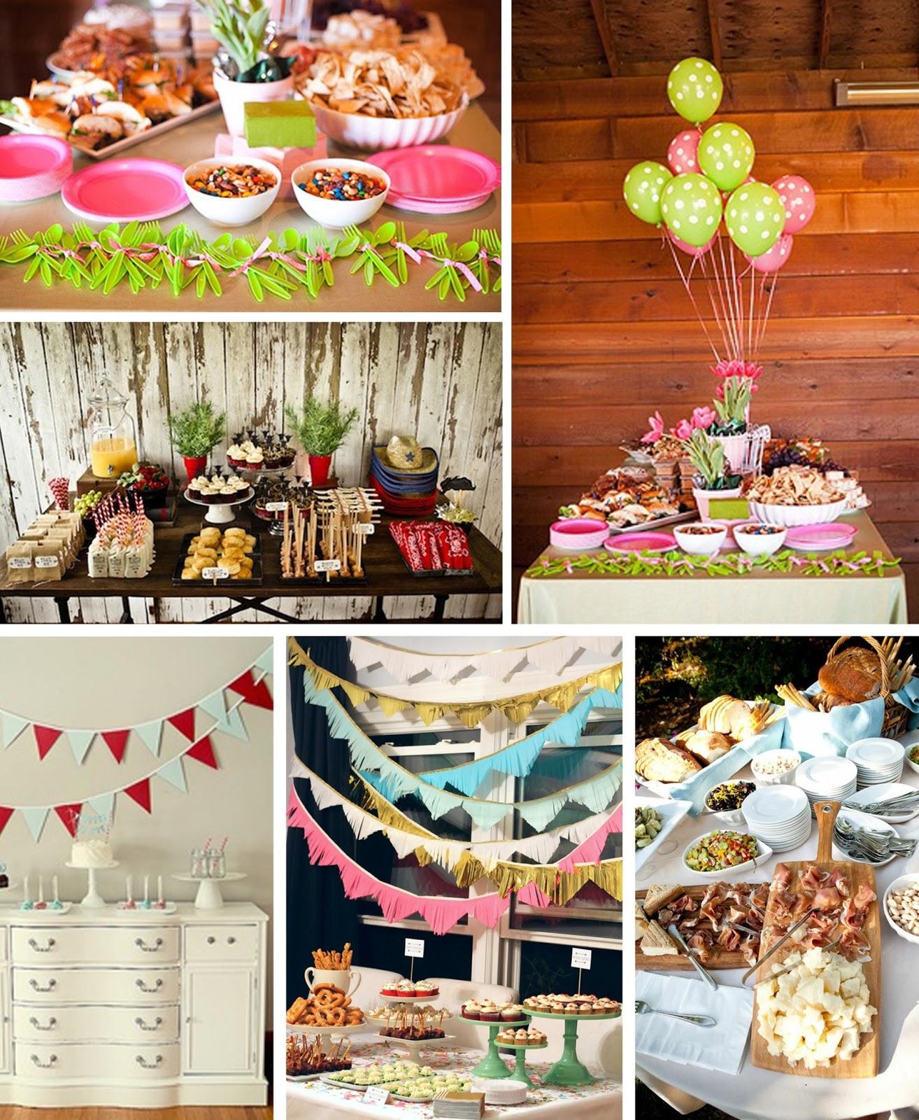 ideas para una fiesta buffet tarta guirnaldas cumpleaos nios